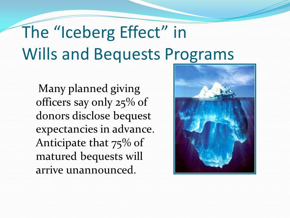 The Iceberg Effect in Wills and Bequests Programs
