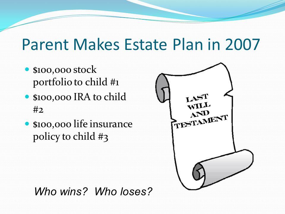 Parent Makes Estate Plan in 2007