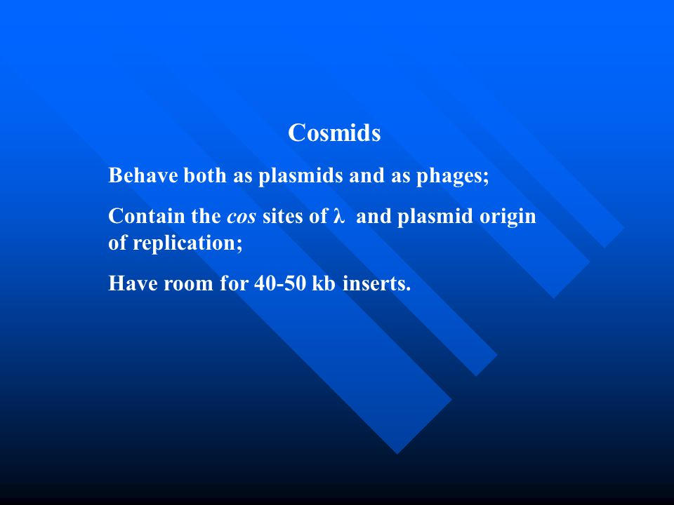 Cosmids Behave both as plasmids and as phages;
