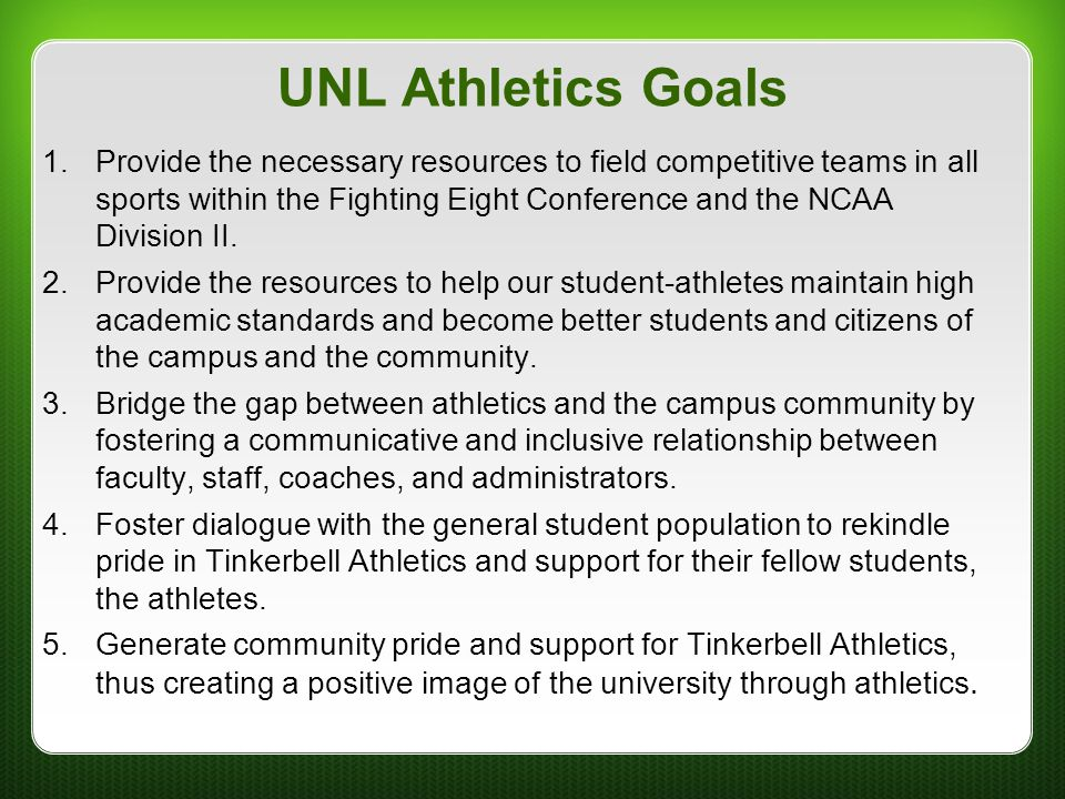UNL Athletics Goals