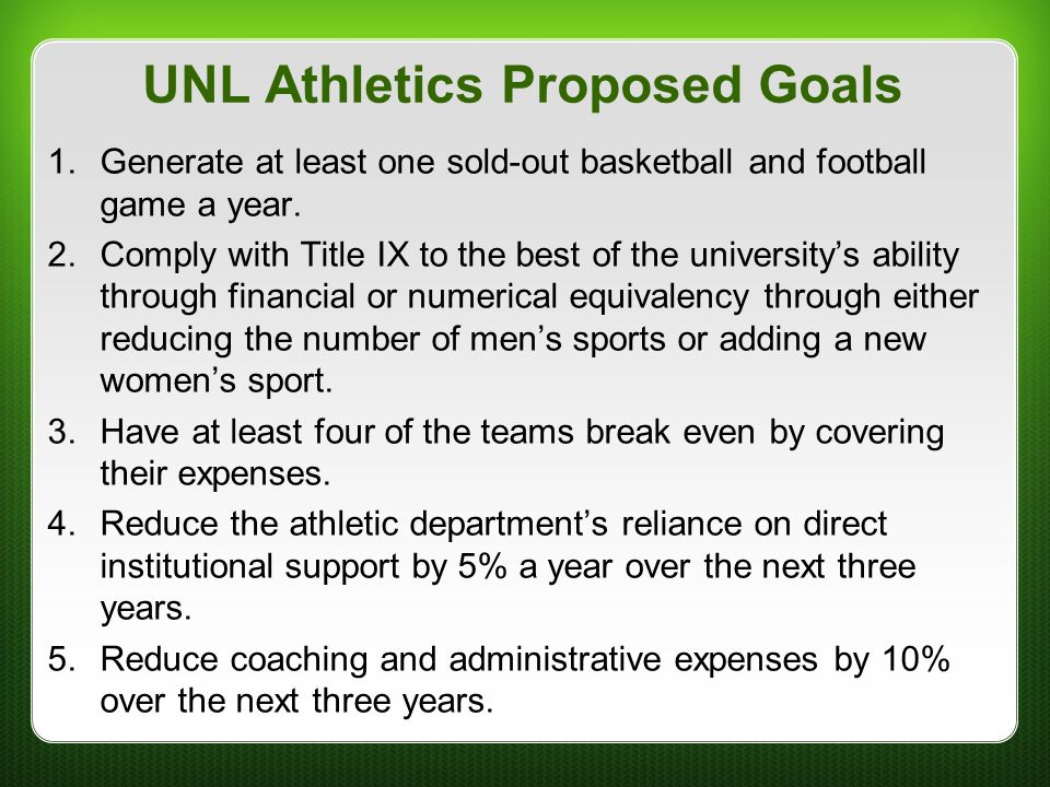 UNL Athletics Proposed Goals