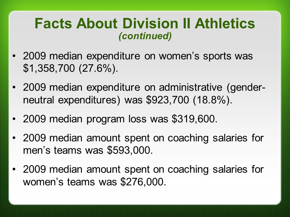 Facts About Division II Athletics (continued)