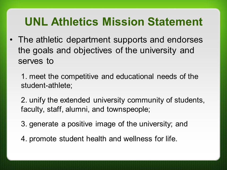 UNL Athletics Mission Statement