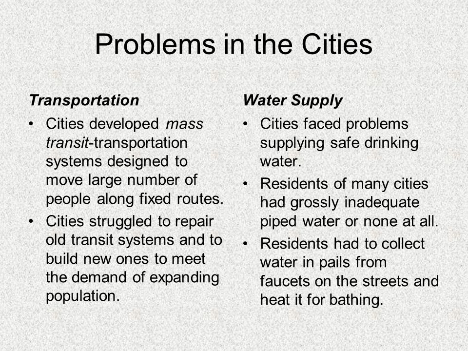 Problems in the Cities Transportation Water Supply