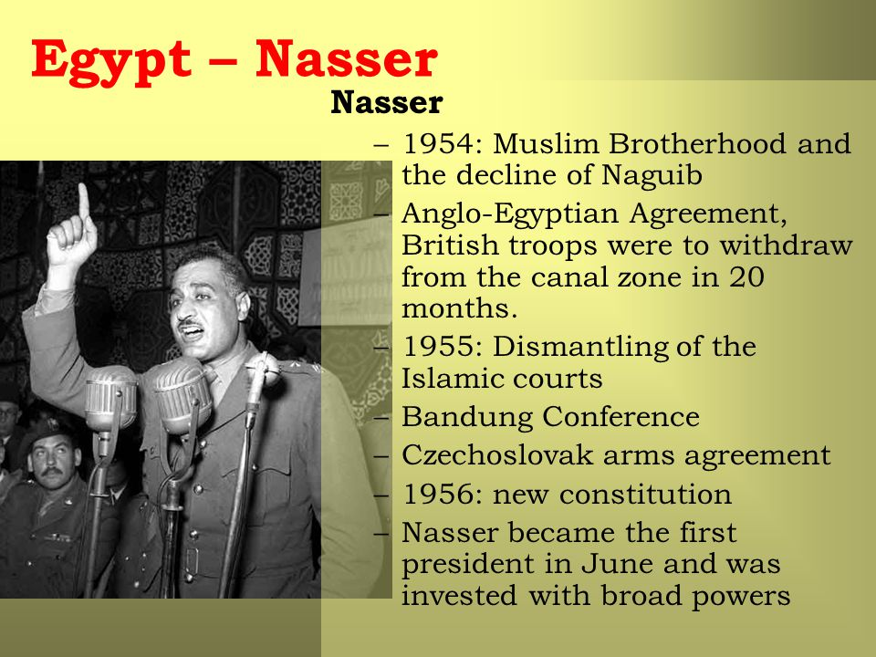 Egypt – Nasser Nasser. 1954: Muslim Brotherhood and the decline of Naguib.