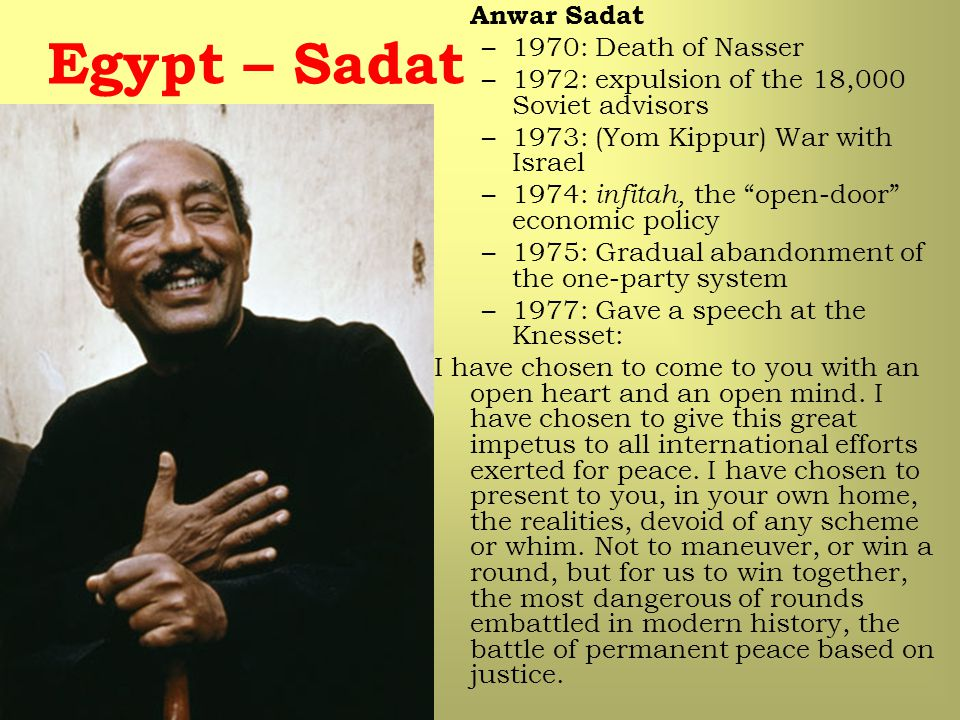 Egypt – Sadat Anwar Sadat 1970: Death of Nasser