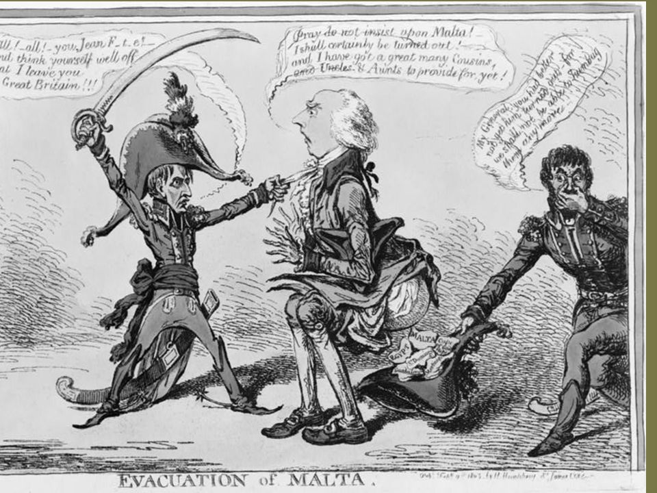 SUMMARY: Addington squats over cocked hat into which he evacuates papers including Egypt, Guadeloupe, and last, Malta, Napoleon holds him by the cravat and threatens him.