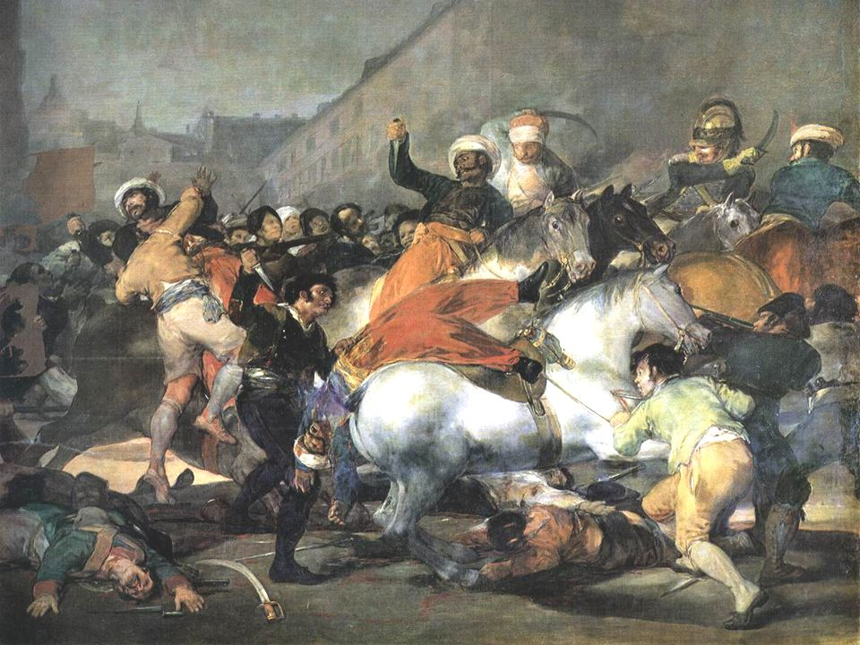 The Second of May, 1808: The Charge of the Mamelukes-1814-Oil on canvas, 266 x 345 cm-Museo del Prado, Madrid After the expulsion of the Napoleonic armies in 1814 Goya applied for, and was granted, official financial aid in order to perpetuate with the brush the most notable and heroic actions or scenes of our glorious insurrection against the tyrant of Europe .