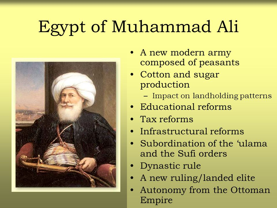 Egypt of Muhammad Ali A new modern army composed of peasants