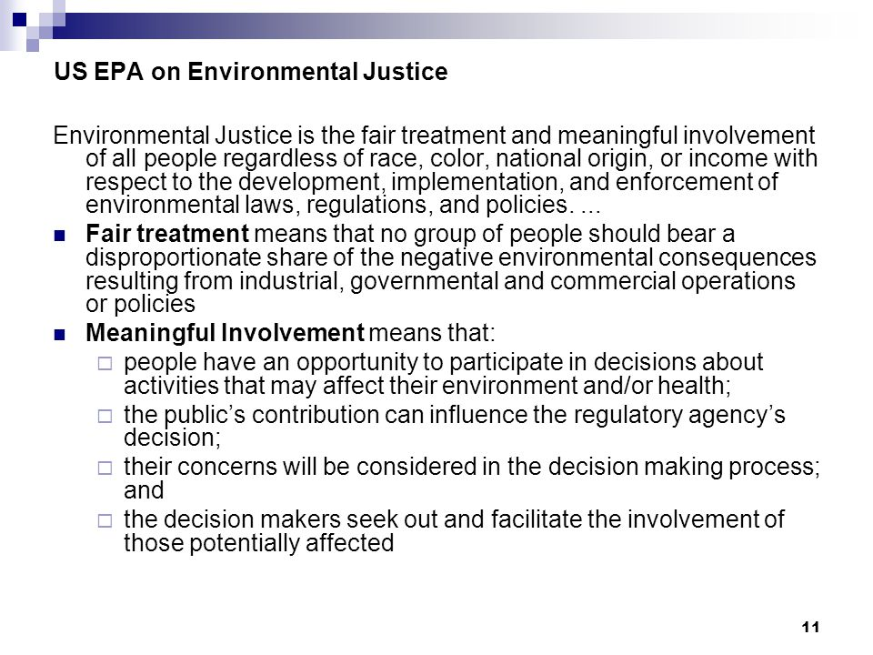 US EPA on Environmental Justice