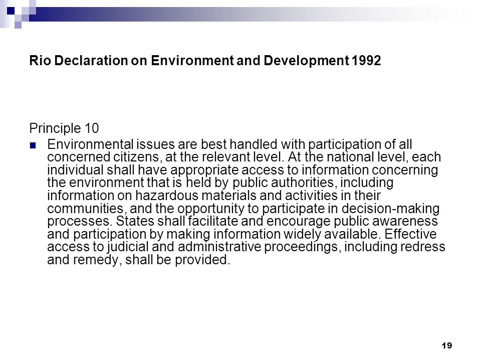Rio Declaration on Environment and Development 1992