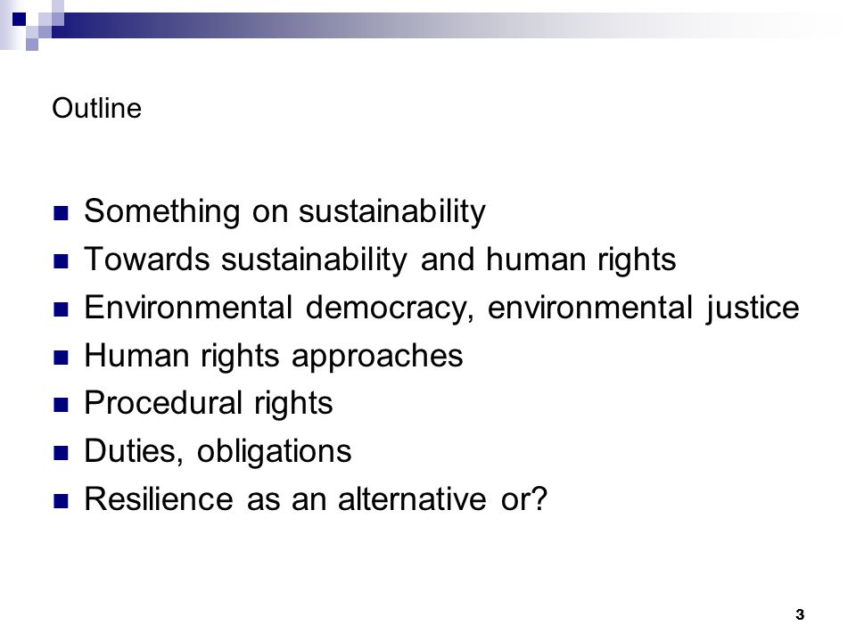 Something on sustainability Towards sustainability and human rights