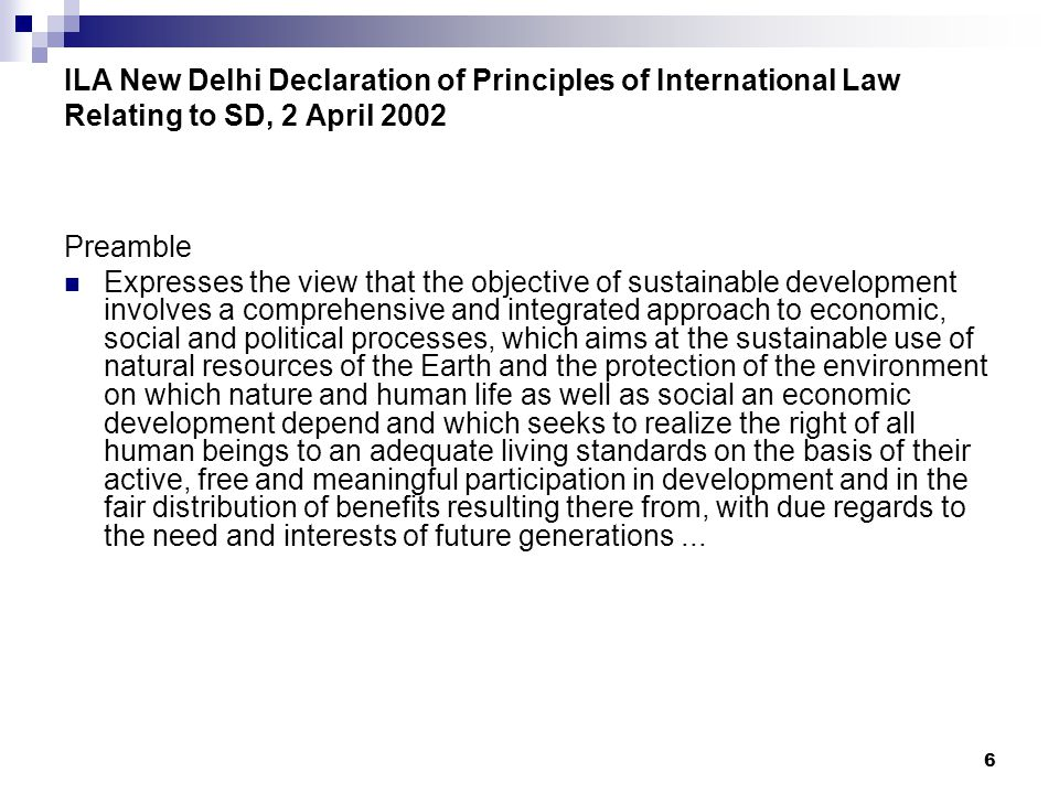 ILA New Delhi Declaration of Principles of International Law Relating to SD, 2 April 2002