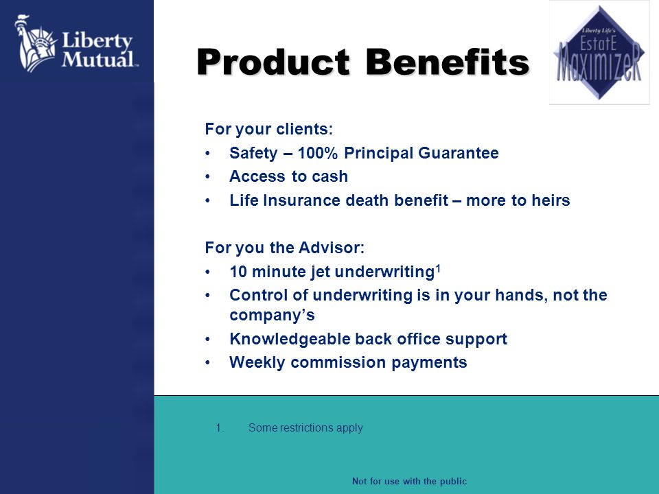 Product Benefits For your clients: Safety – 100% Principal Guarantee