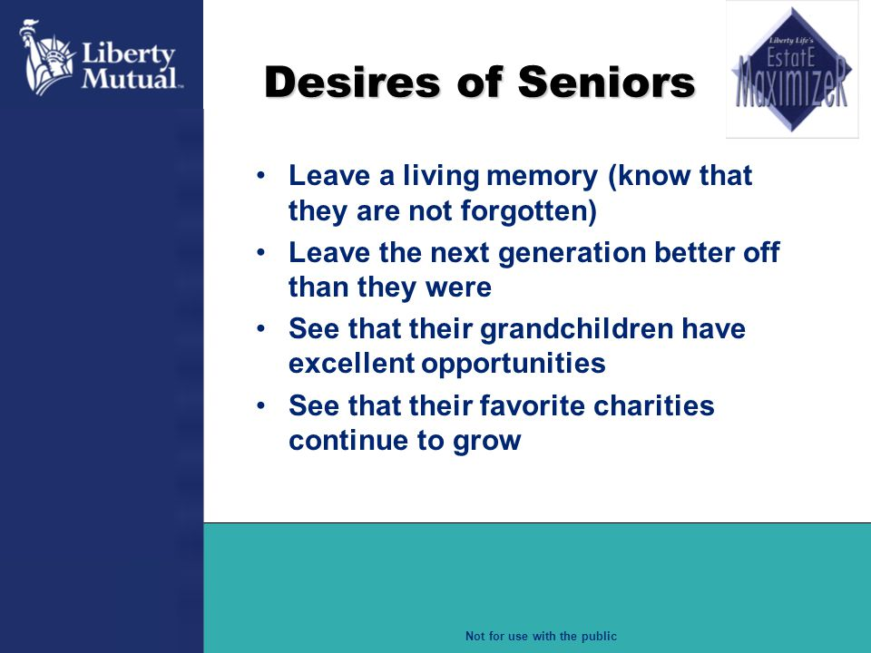 Desires of Seniors Leave a living memory (know that they are not forgotten) Leave the next generation better off than they were.