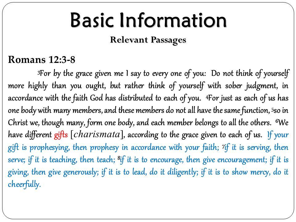 Basic Information Relevant Passages