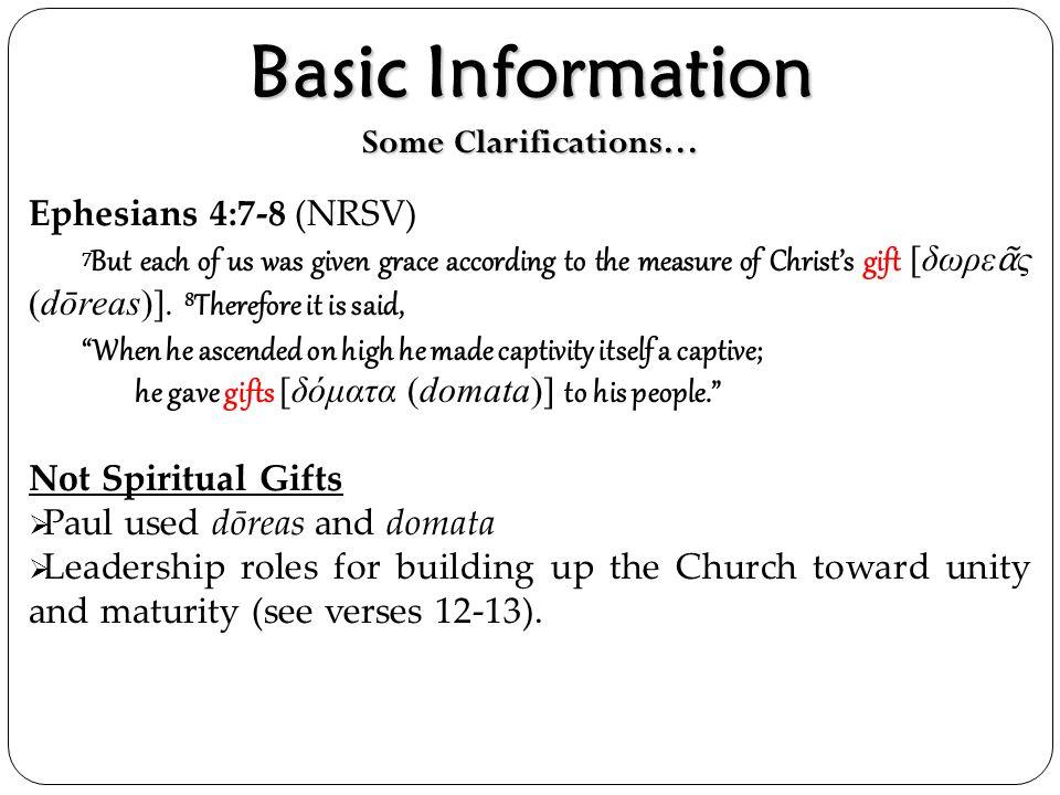 Basic Information Some Clarifications…