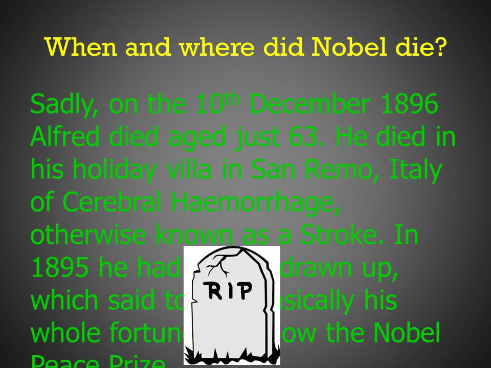 When and where did Nobel die