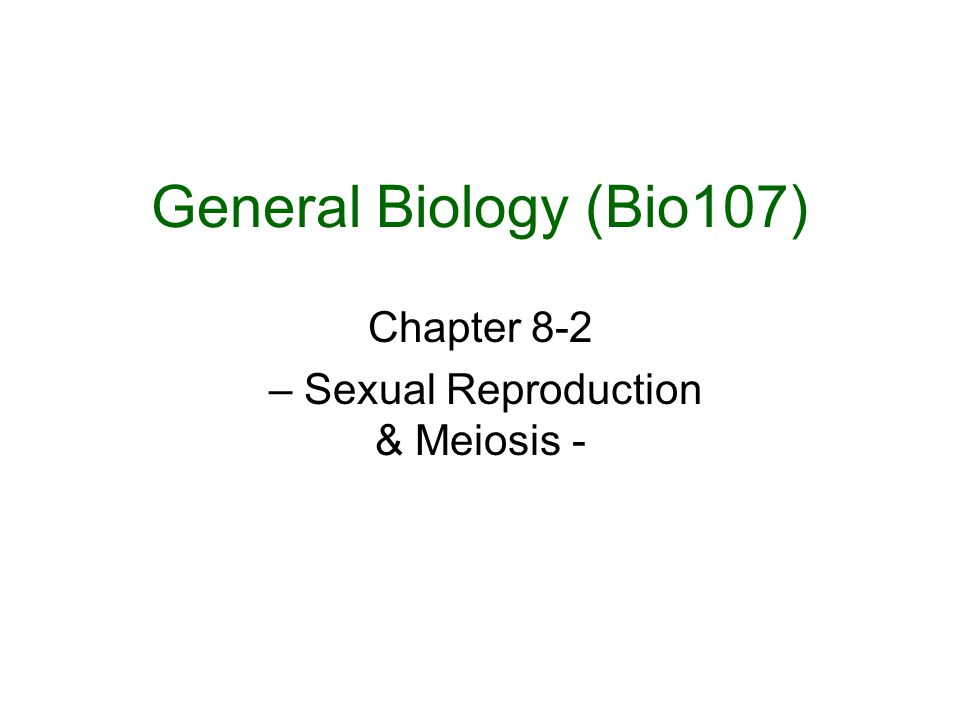 Chapter 8-2 – Sexual Reproduction & Meiosis -