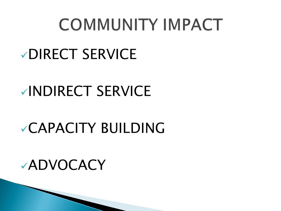 COMMUNITY IMPACT DIRECT SERVICE INDIRECT SERVICE CAPACITY BUILDING