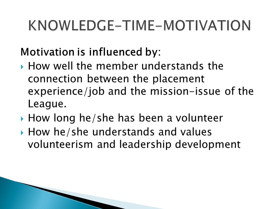 KNOWLEDGE-TIME-MOTIVATION