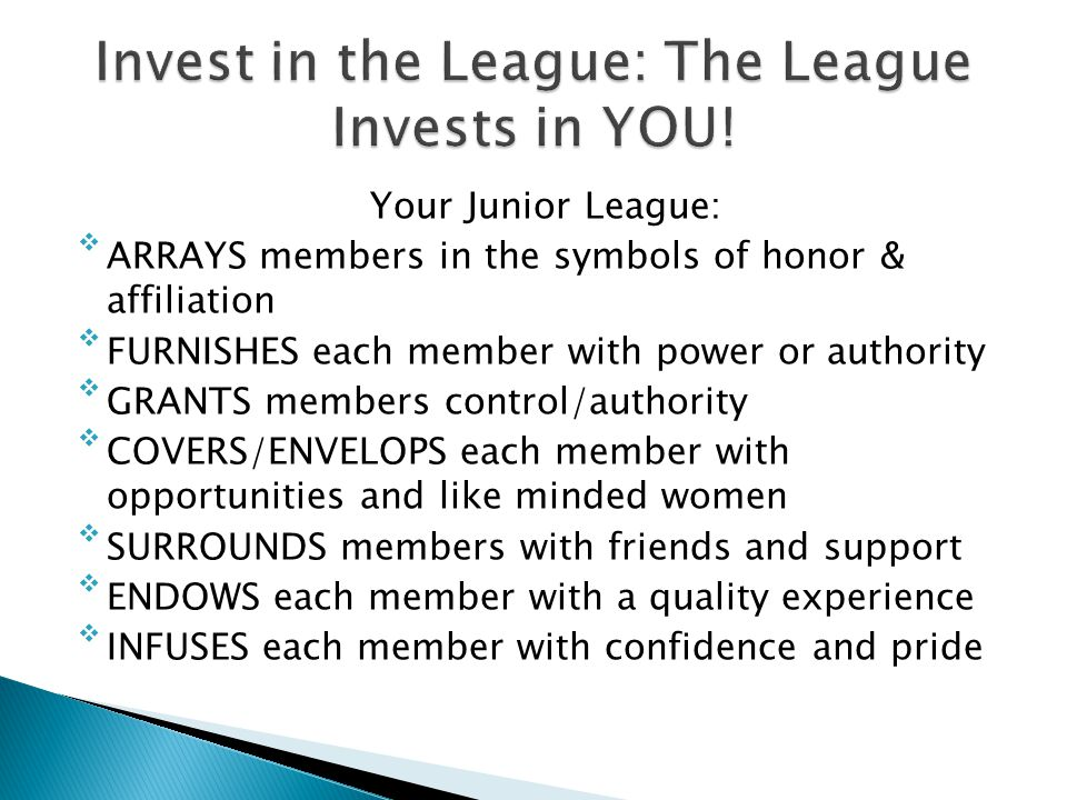 Invest in the League: The League Invests in YOU!