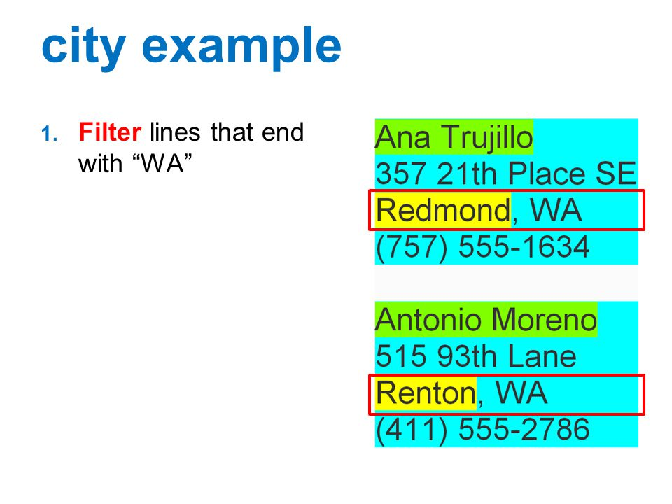 city example Filter lines that end with WA