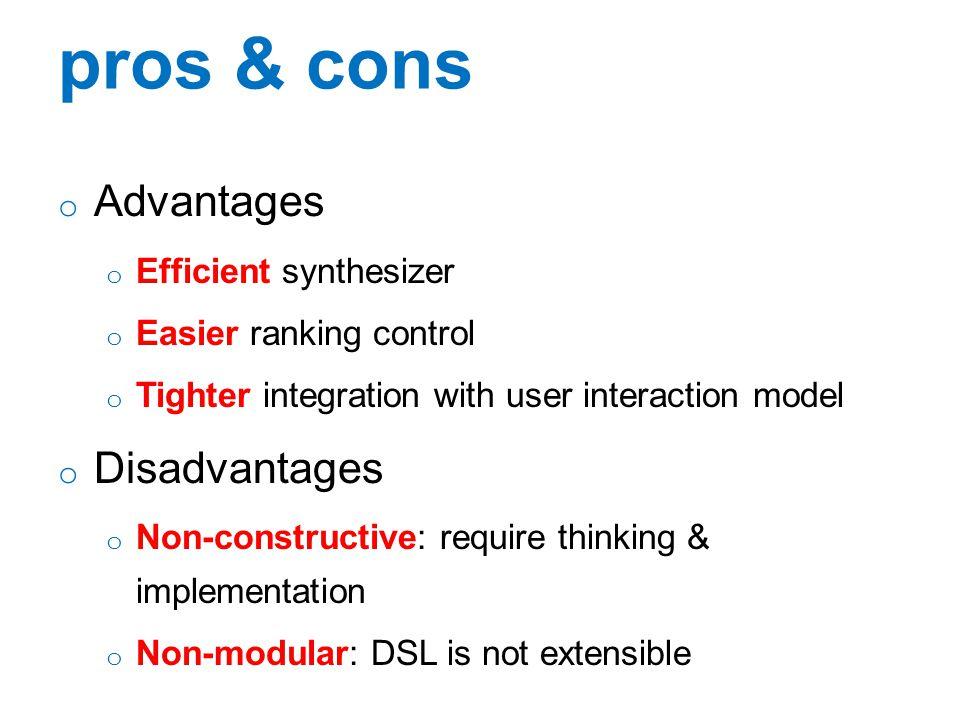 pros & cons Advantages Disadvantages Efficient synthesizer