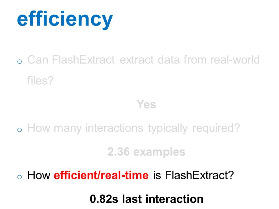 efficiency Can FlashExtract extract data from real-world files Yes