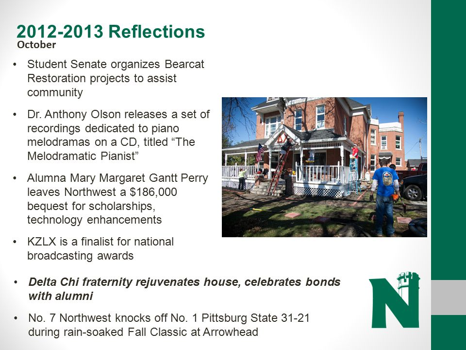 2012-2013 Reflections October. Student Senate organizes Bearcat Restoration projects to assist community.
