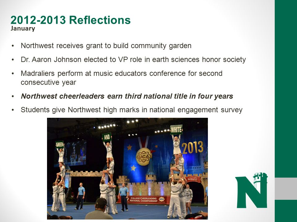 2012-2013 Reflections January. Northwest receives grant to build community garden.