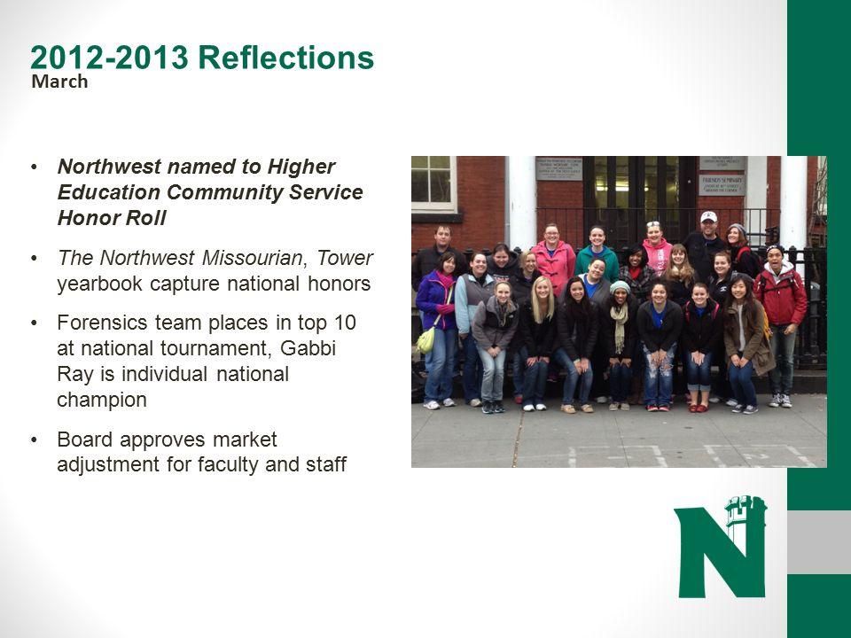 2012-2013 Reflections March. Northwest named to Higher Education Community Service Honor Roll.