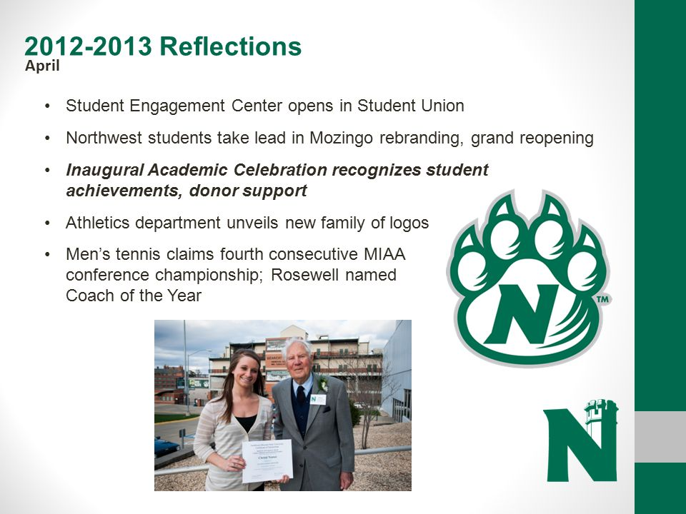 2012-2013 Reflections April. Student Engagement Center opens in Student Union. Northwest students take lead in Mozingo rebranding, grand reopening.
