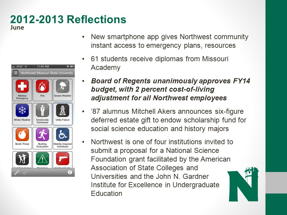 2012-2013 Reflections June. New smartphone app gives Northwest community instant access to emergency plans, resources.