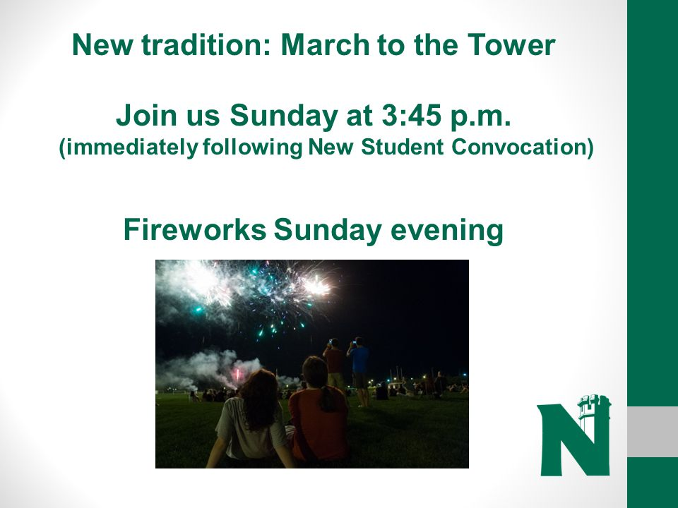 New tradition: March to the Tower Fireworks Sunday evening