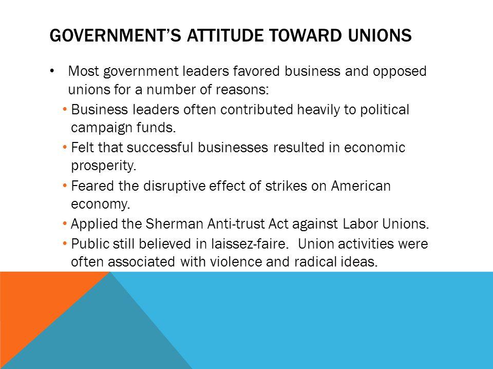 Government's attitude toward unions