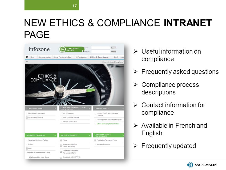 New Ethics & Compliance INTRANET Page