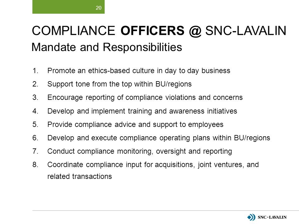 Compliance OfficerS @ SNC-Lavalin