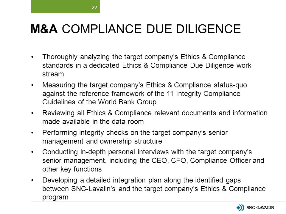 M&A Compliance DUE DILIGENCE