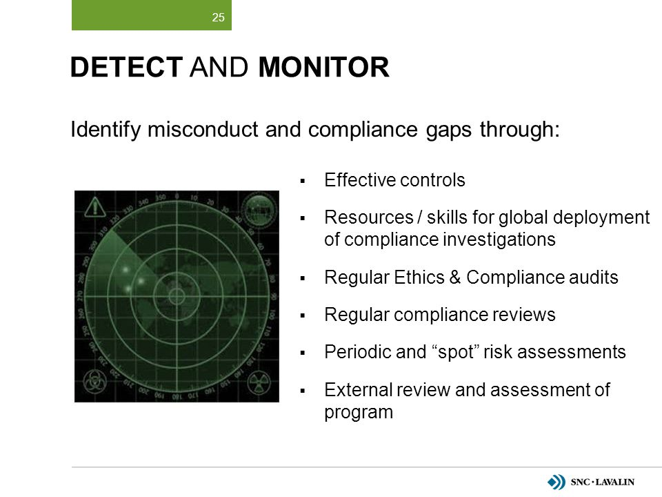 DETECT AND MONITOR Identify misconduct and compliance gaps through: