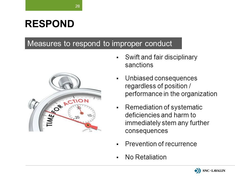 RESPOND Measures to respond to improper conduct