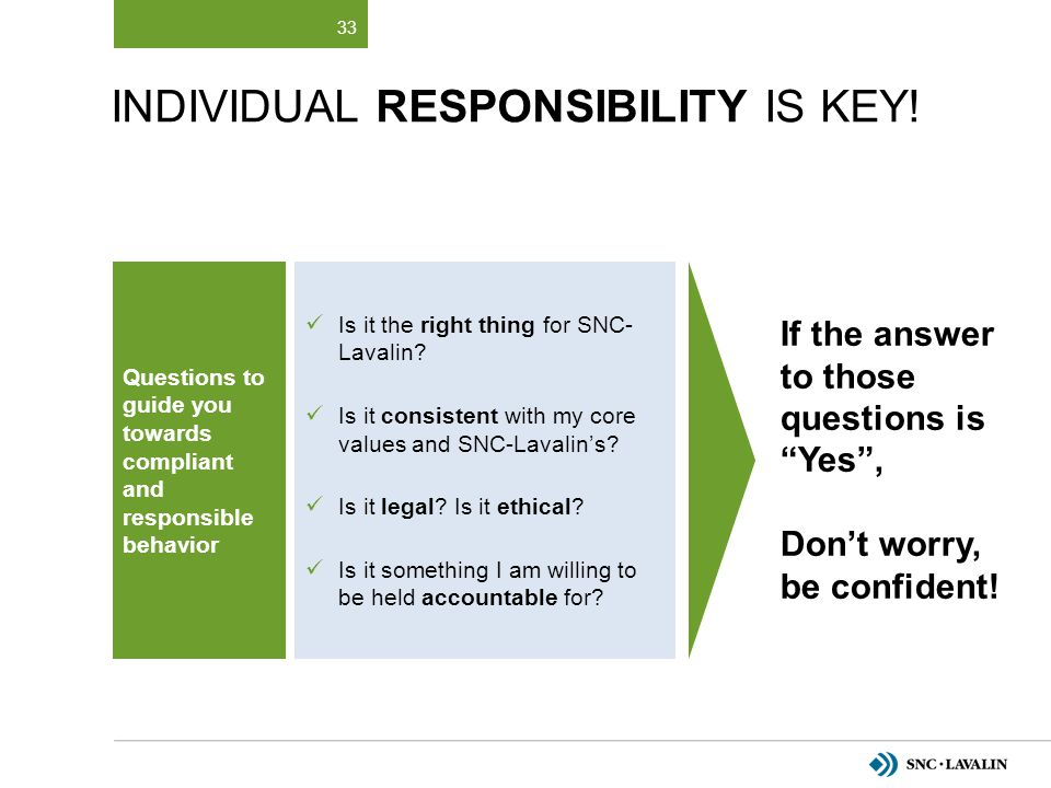 Individual Responsibility Is Key!