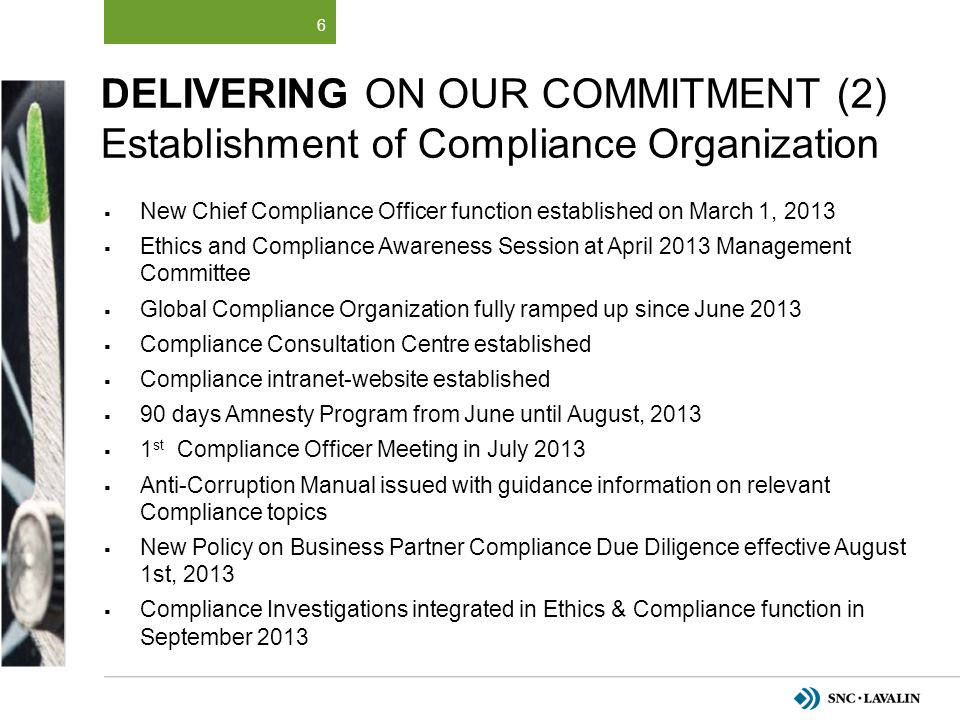 Delivering on Our Commitment (2) Establishment of Compliance Organization