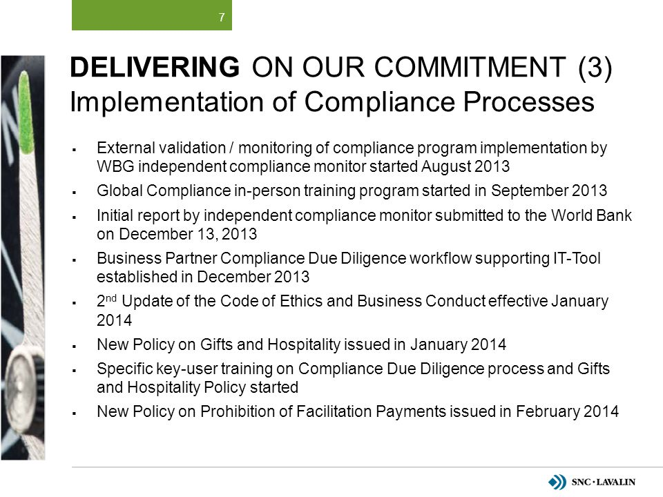Delivering on Our Commitment (3) Implementation of Compliance Processes