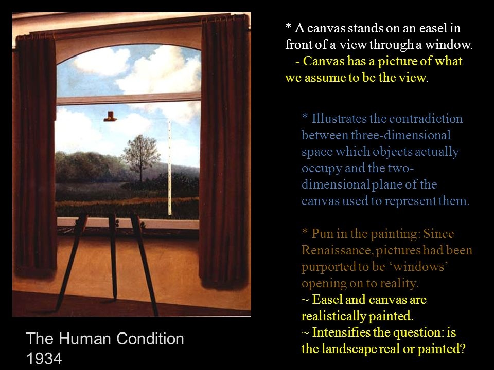 * A canvas stands on an easel in front of a view through a window.