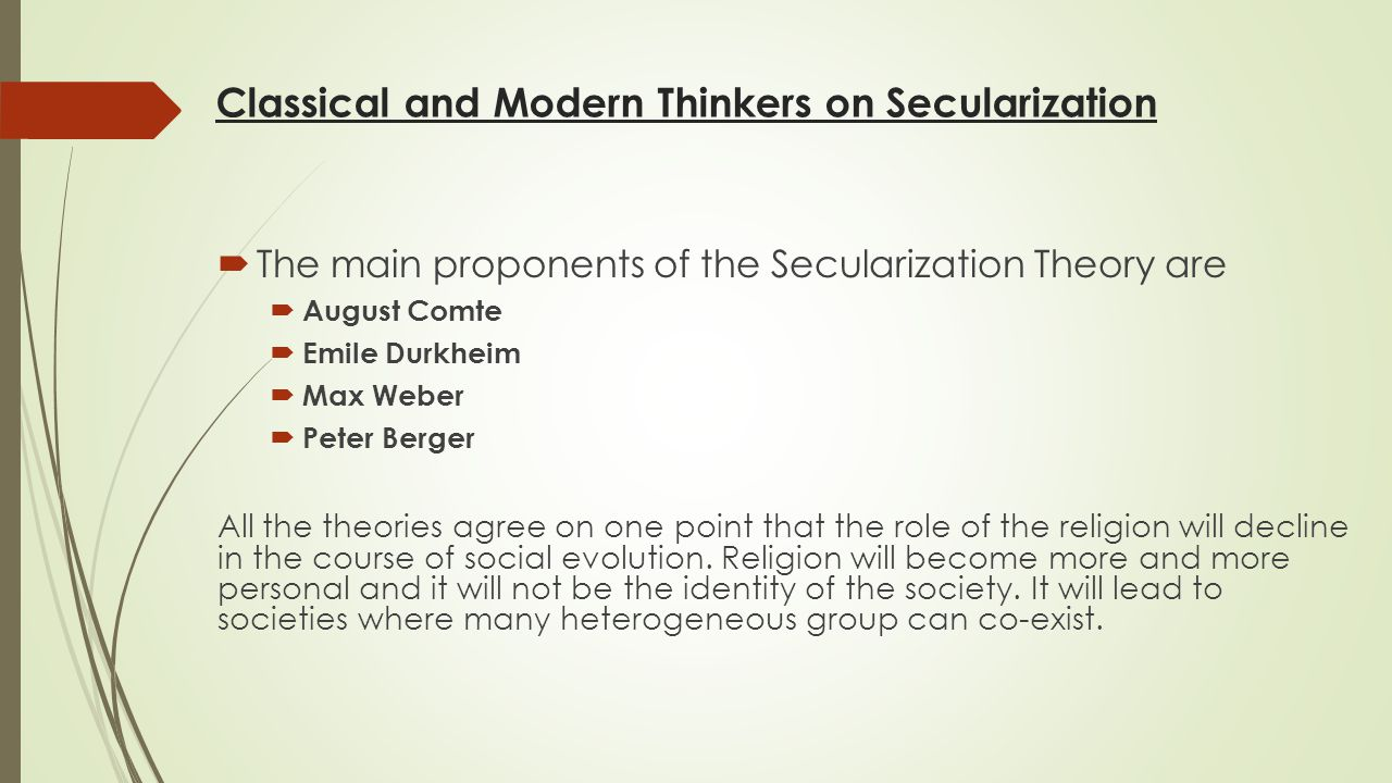 Classical and Modern Thinkers on Secularization