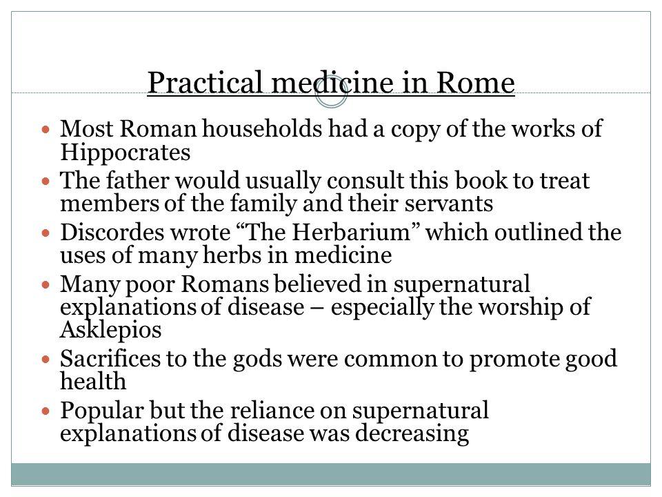 Practical medicine in Rome