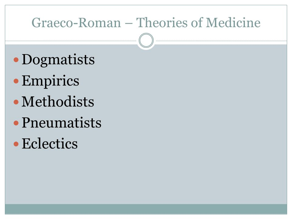 Graeco-Roman – Theories of Medicine