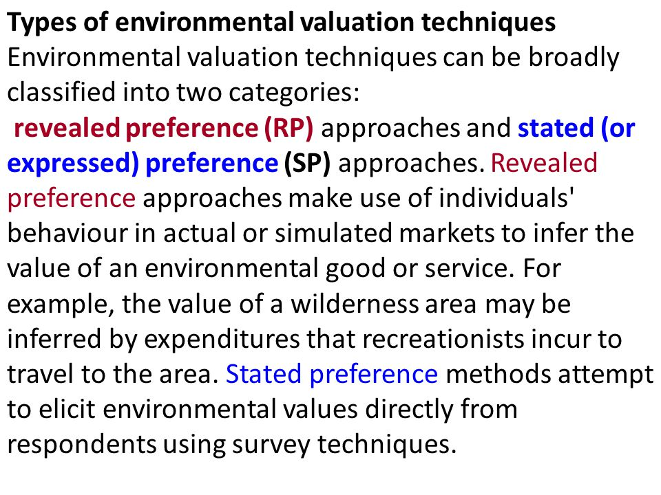 Types of environmental valuation techniques