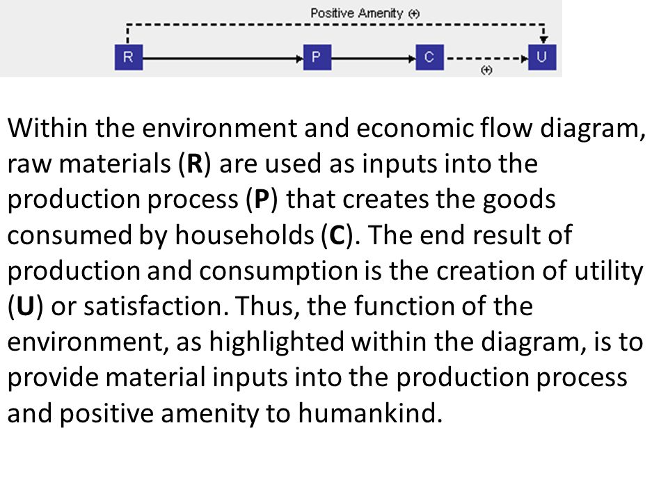 Within the environment and economic flow diagram, raw materials (R) are used as inputs into the production process (P) that creates the goods consumed by households (C).